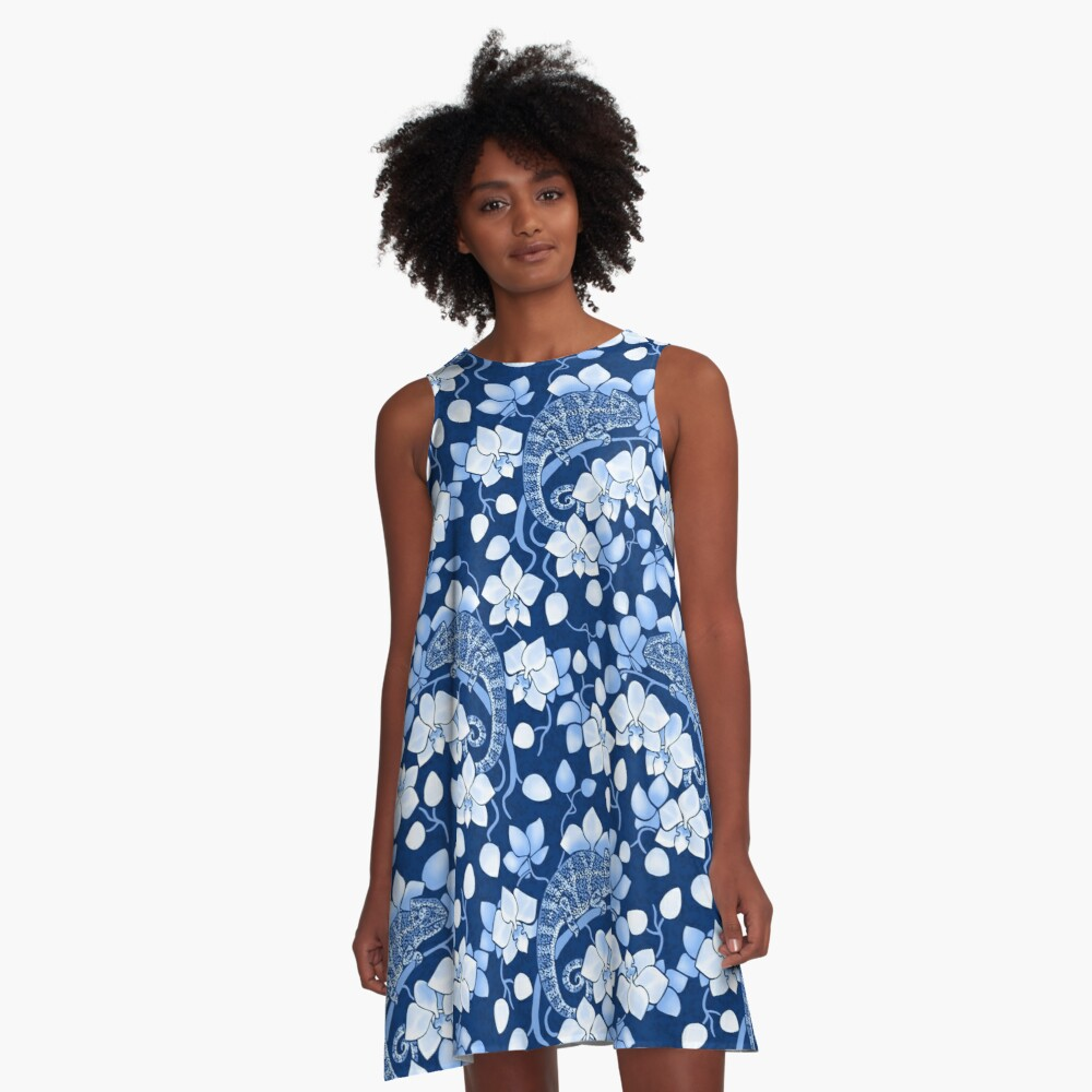 Chameleons and orchids in blue A-Line Dress
