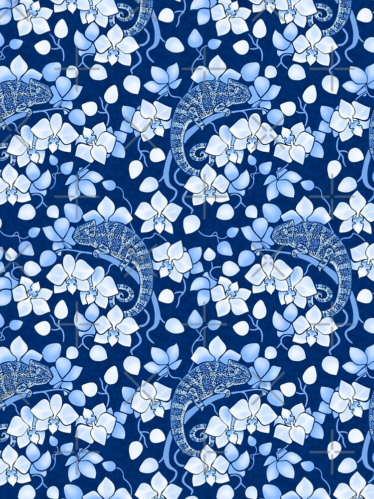 Chameleons and orchids in blue by Elenanaylor