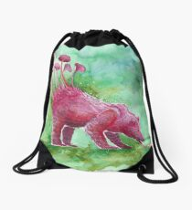 Beer Drinking Bear | Surrealistic Art, Watercolor Painting by Stephanie Kilgast Drawstring Bag