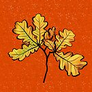 Oak Leaves Autumnal Botanical Art by Boriana Giormova