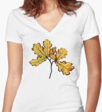 Oak Leaves Autumnal Botanical Art Women's Fitted V-Neck T-Shirt