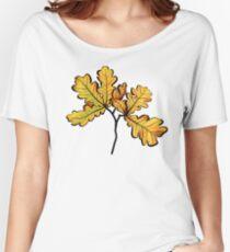 Oak Leaves Autumnal Botanical Art Women's Relaxed Fit T-Shirt