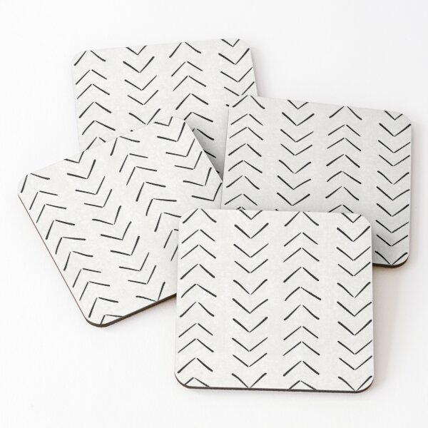 Mud Cloth Big Arrows in White and Black Coasters (Set of 4)