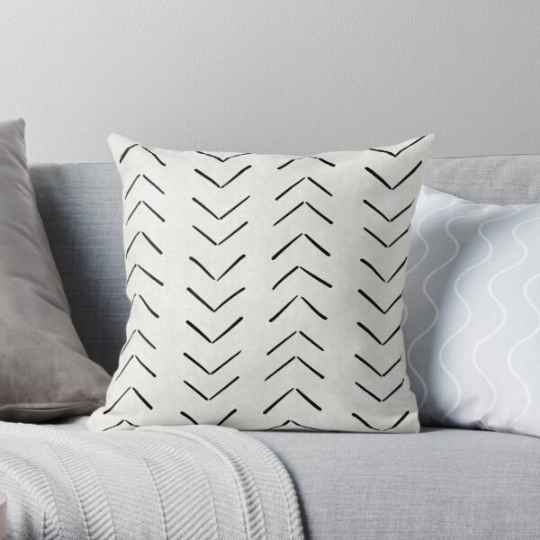 Mud Cloth Big Arrows in White and Black Throw Pillow