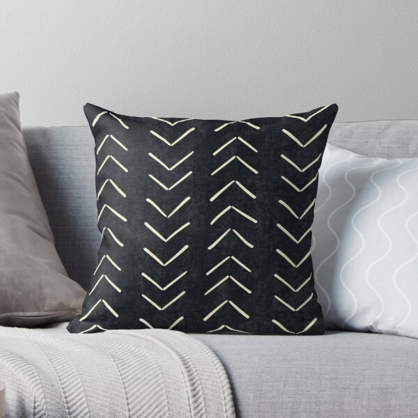 Mud Cloth Big Arrows in Black and White Throw Pillow