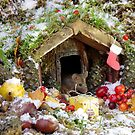 christmas wild mouse in a snow log cabin house by Simon-dell