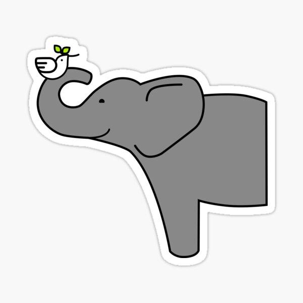 Elephant and Dove Sticker