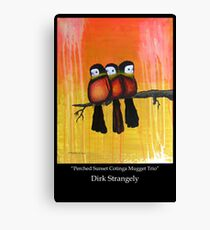 Dirk Strangely's PERCHED SUNSET COTINGA MUGGET TRIO Canvas Print