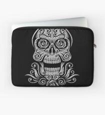 Day Of The Dead Skull - 01 Black White Grunge Laptop Sleeve