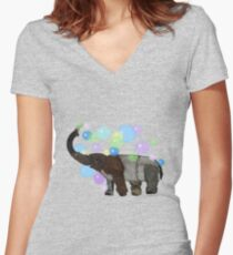 f6e484a4f14115 Elephant with bubbles Women s Fitted V-Neck T-Shirt
