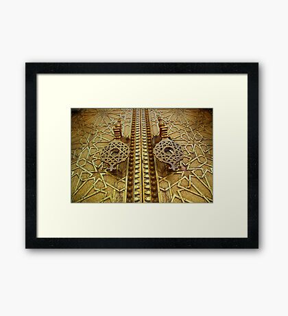 Palatial welcome (Palace doors, Fez, Morocco) Framed Print