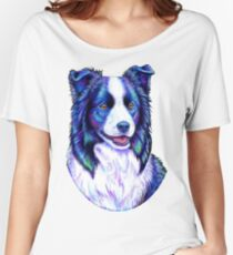 Colorful Border Collie Dog Women's Relaxed Fit T-Shirt
