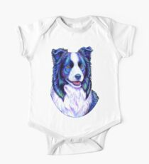 Colorful Border Collie Dog One Piece - Short Sleeve