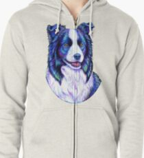 Colorful Border Collie Dog Zipped Hoodie