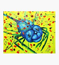 Smiling and Friendly Blue Bug with yellow backdrop Photographic Print