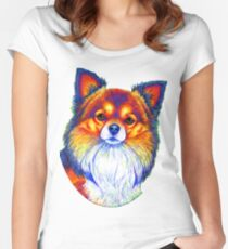 Colorful Long Haired Chihuahua Dog Women's Fitted Scoop T-Shirt