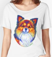 Colorful Long Haired Chihuahua Dog Women's Relaxed Fit T-Shirt