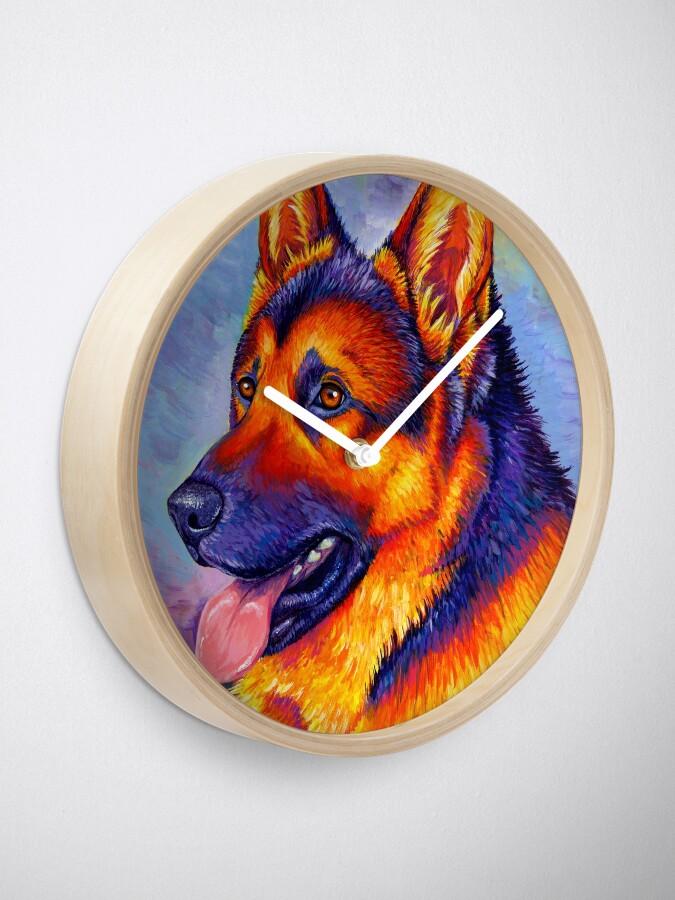 Alternate view of Courageous Partner - Colorful German Shepherd Dog Clock