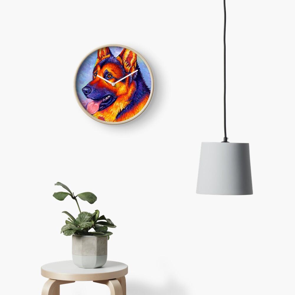 Courageous Partner - Colorful German Shepherd Dog Clock