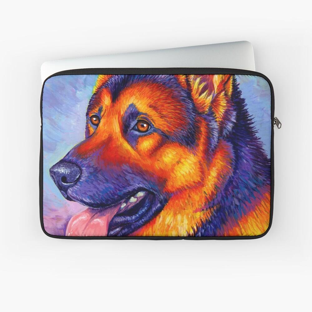 Courageous Partner - Colorful German Shepherd Dog Laptop Sleeve
