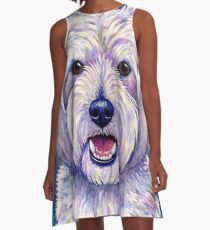 Colorful West Highland White Terrier Dog Blue Background A-Line Dress
