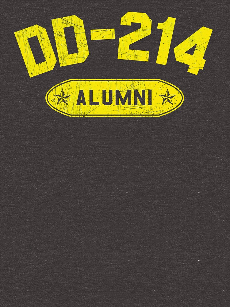 DD-214 Alumni In Yellow US Military Distressed Shirt Gear by DynamicDesign