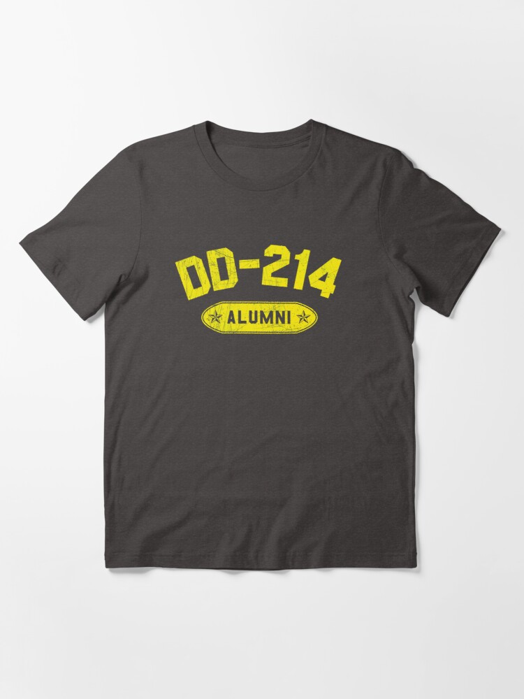 Alternate view of DD-214 Alumni In Yellow US Military Distressed Shirt Gear Essential T-Shirt