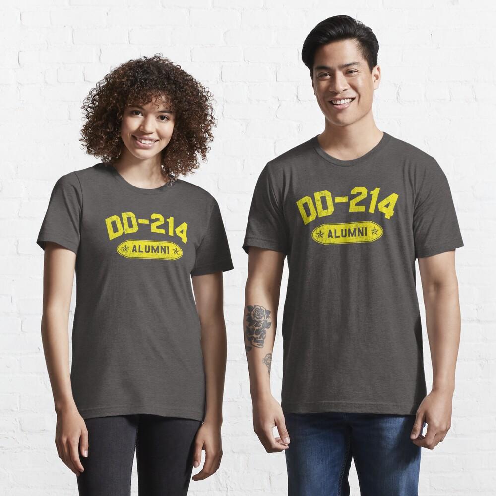 DD-214 Alumni In Yellow US Military Distressed Shirt Gear Essential T-Shirt