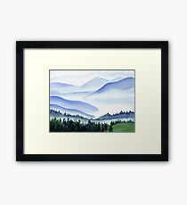 Watercolor mountains Framed Print