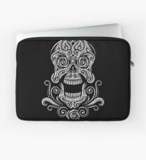 Day Of The Dead Skull - 04 Black White Grunge Laptop Sleeve