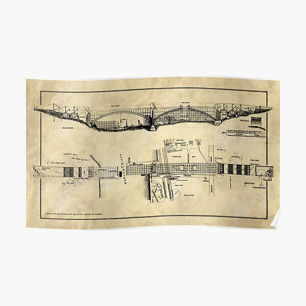 George Washington Bridge Blueprint Plans Rustic Industrial Farmhouse Poster