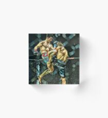 Dominik Cruz Flying Knee Fighting Art Acrylic Block