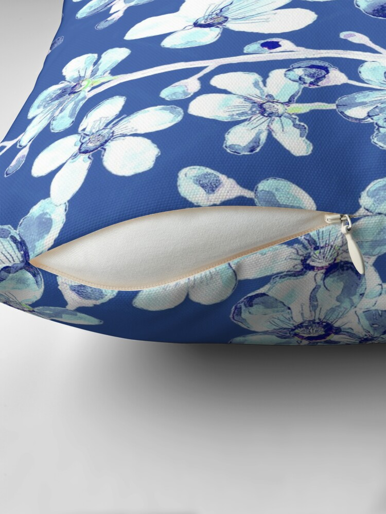 Alternate view of blue and white cherry blossom, Chinoiserie, Hamptons Style interiors. Throw Pillow