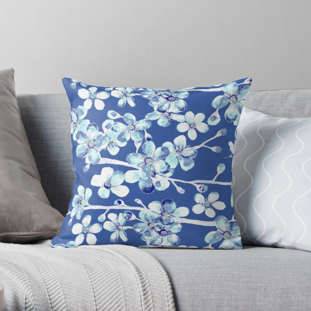blue and white cherry blossom, Chinoiserie, Hamptons Style interiors. Throw Pillow