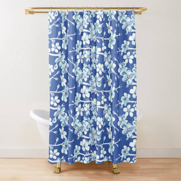 blue and white cherry blossom, Chinoiserie, Hamptons Style interiors. Shower Curtain
