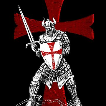 Knight Templar Holding a Sword and a Shield  by aronia