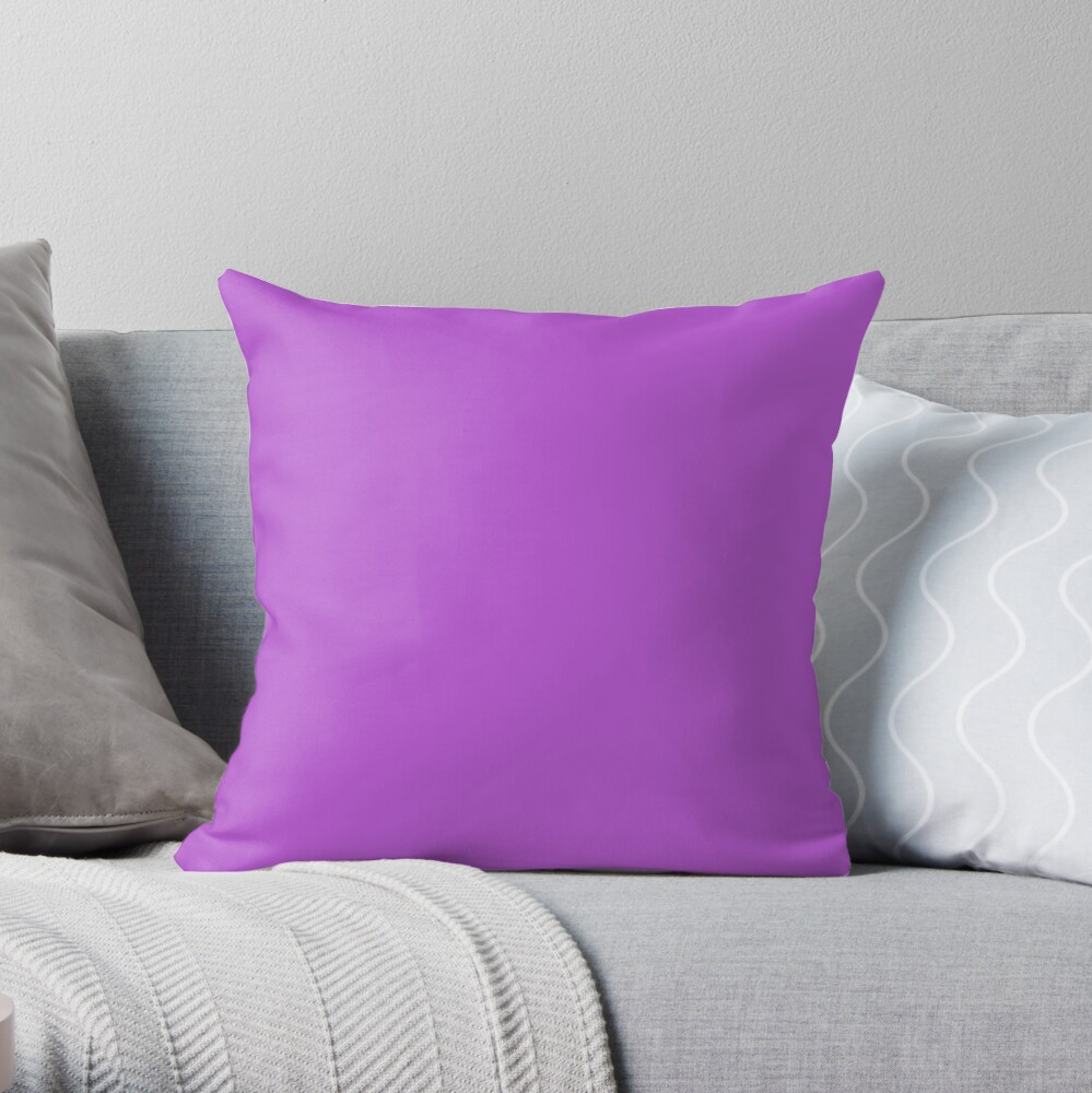 PLAIN SOLID MEDIUM ORCHID - 100 SHADES OF PINK AND PURPLE ON OZCUSHIONS  Throw Pillow