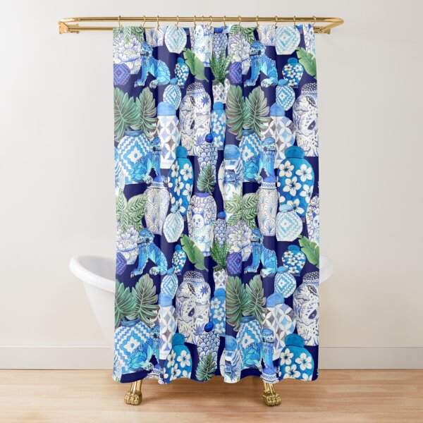 classic blue Chinoiserie Foo dogs, Chinese ginger jars, palms and calathea, blue and white Shower Curtain