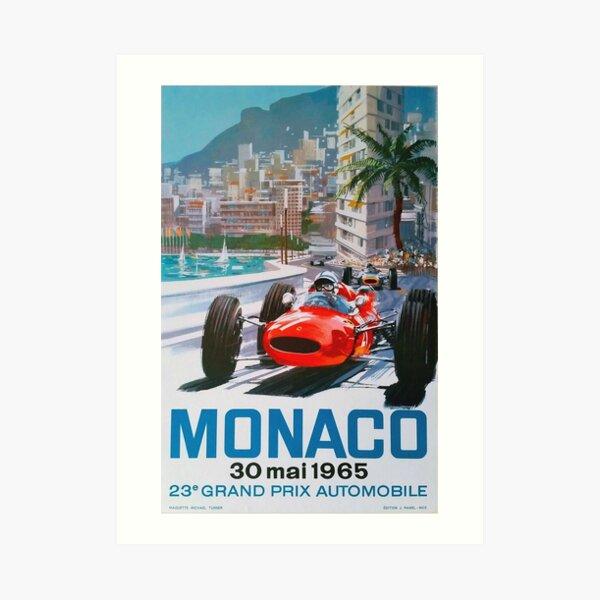 Vintage 1965 Monaco Race Poster Art Print