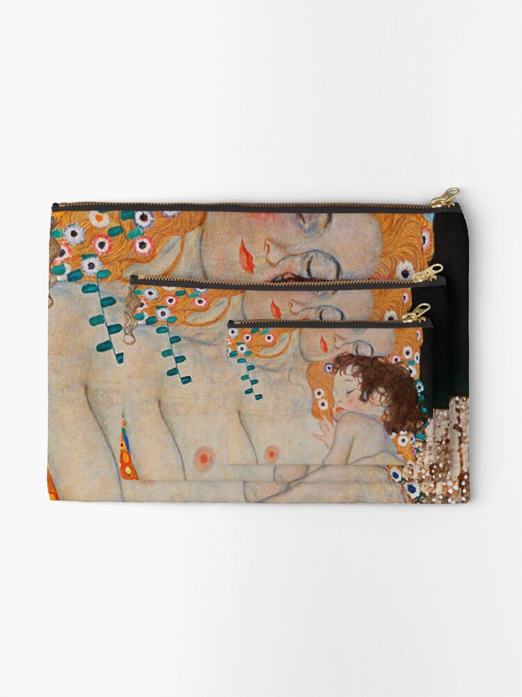 Alternate view of Gustav Klimt, mother and child,reproduction,art nouveau,great art from vintage painters Zipper Pouch