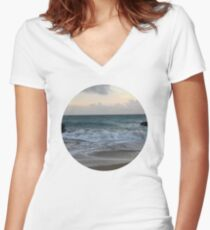 Beach Sunset Women's Fitted V-Neck T-Shirt