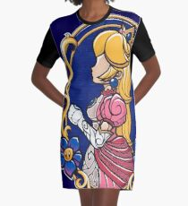 Stained-Glass Peach Graphic T-Shirt Dress
