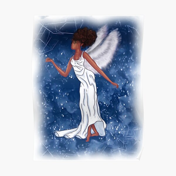 African American Natural Hair Holiday Angel  Poster