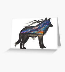 Alaskan Sunset Wolf Greeting Card