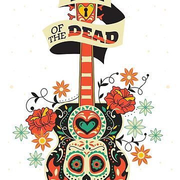 The day of the dead Guitar and skull design by artonwear