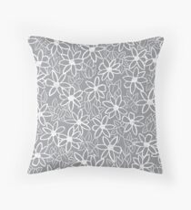 Grey Floral Pattern  Throw Pillow