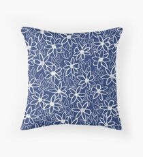 Navy Floral Pattern  Throw Pillow