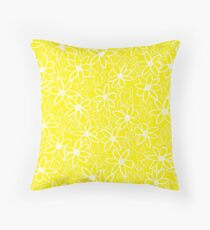 Yellow Floral Pattern  Throw Pillow