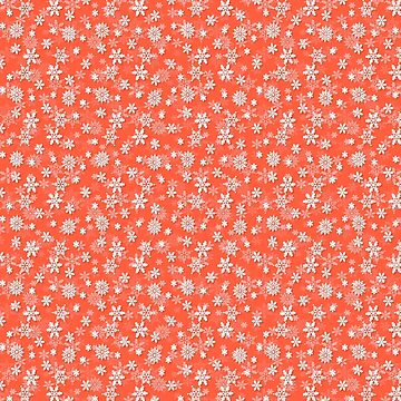 Festive Living Coral Orange Pink and White Christmas Holiday Snowflakes by podartist