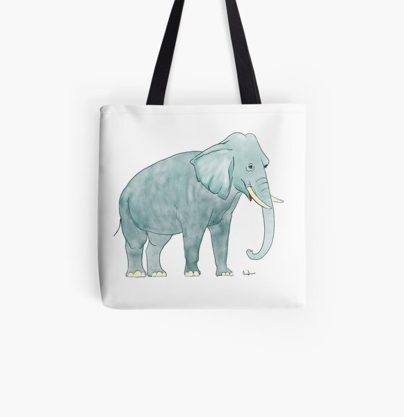 Watercolor Elephant  All Over Print Tote Bag